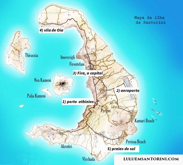 Mapa da ilha de Santorini Grécia
